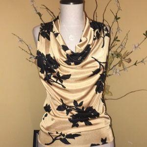 Michael kors gold/floral print front drape